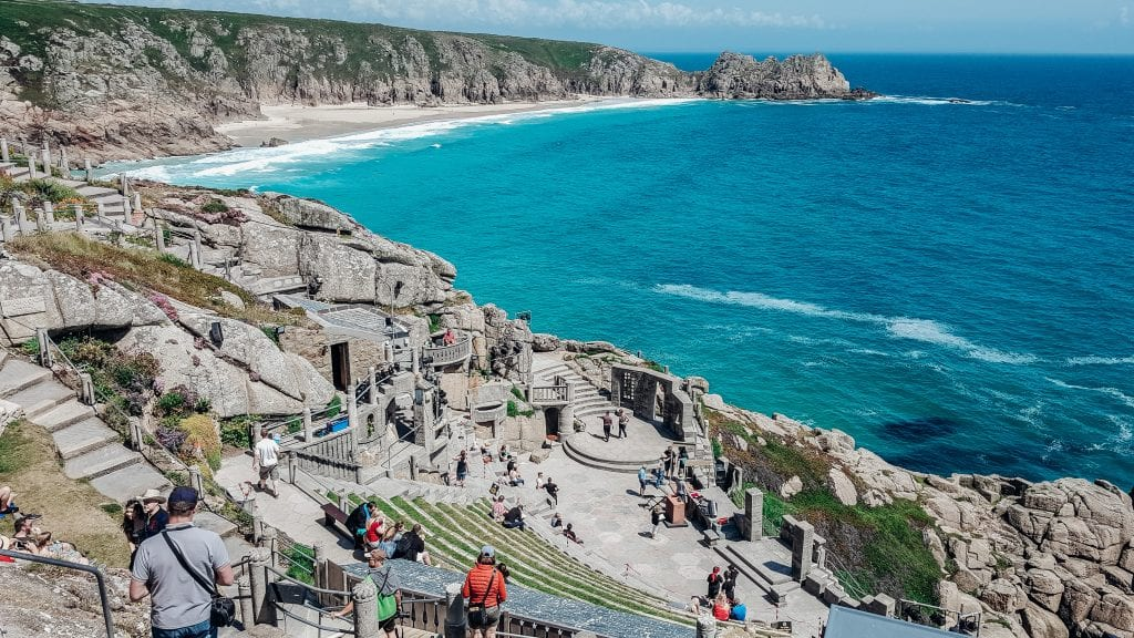 The stunning views from Minack Theatre out over Porthcurno, Cornwall